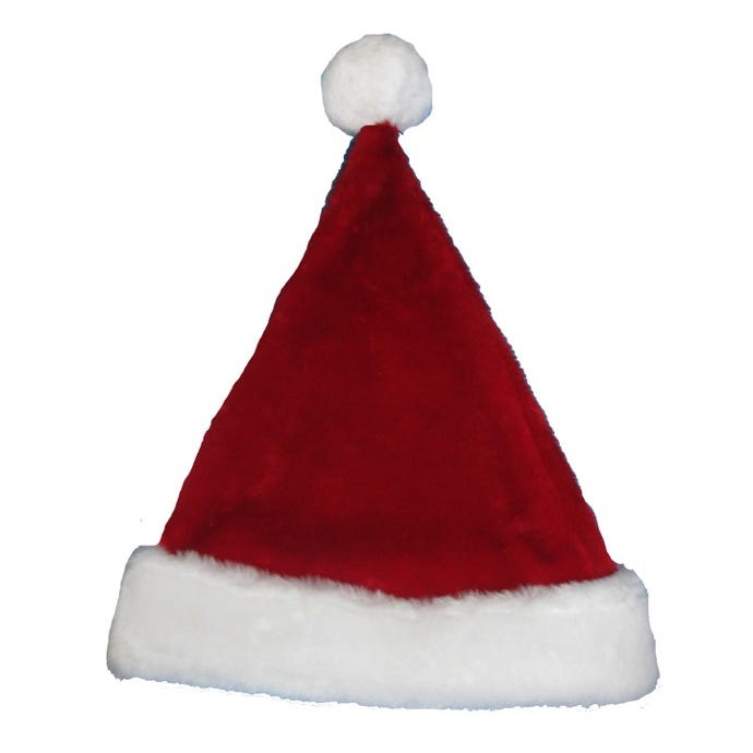 Santa Hat - Plush Red Santa Hat - 17in