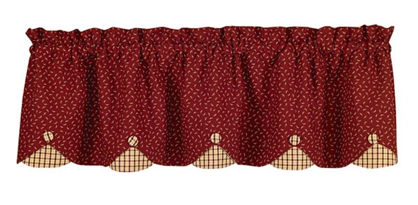 Lined Scallop Valance - Apple Jack - 58in x 15in