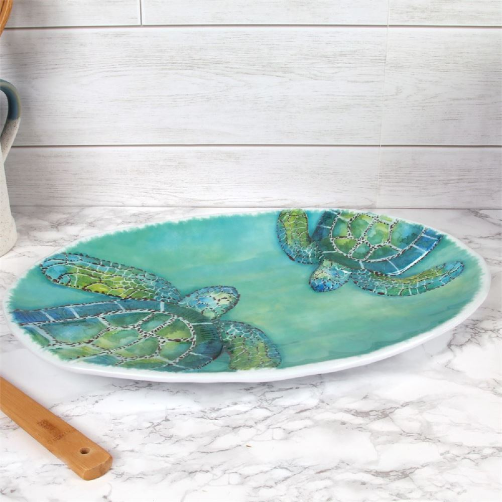 Sea Turtle Decor - Embossed Oval Platter- 17in