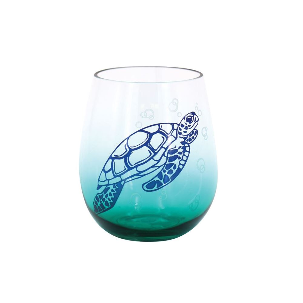 Sea Turtle Wine Glass - Stemless - Plastic - 18oz Stemless Wine Glass - Sea Turtle - Shatterproof - 18oz