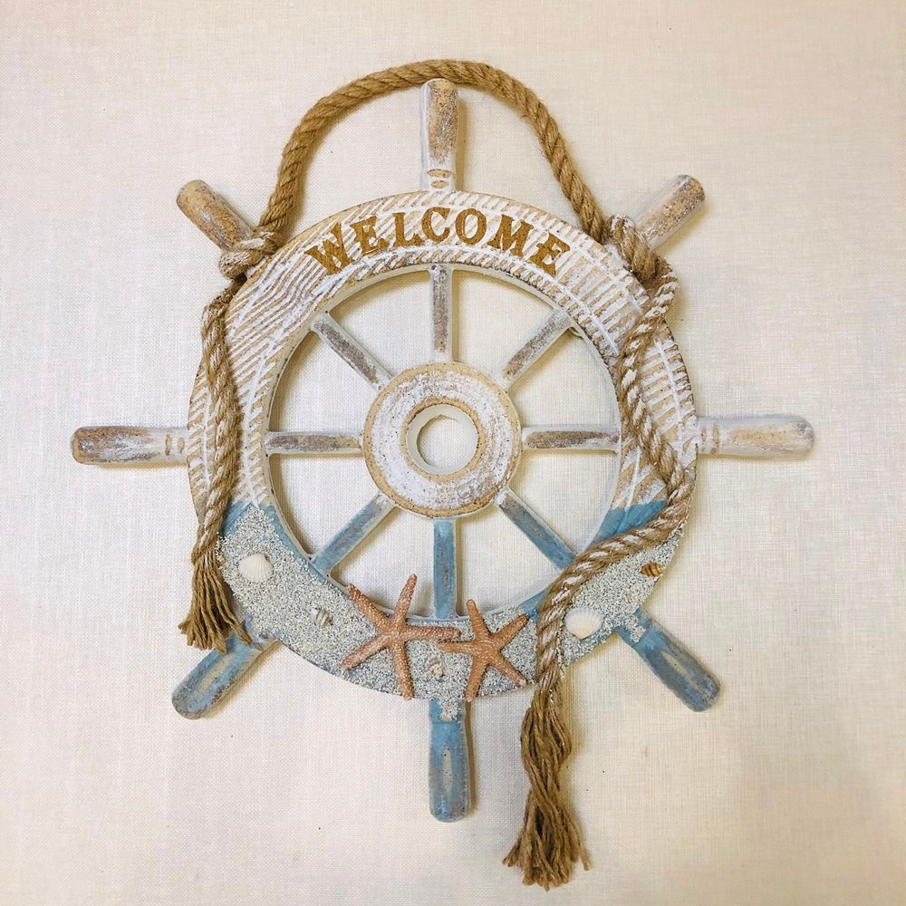 Ships Wheel Decor - Welcome Sign - 14in