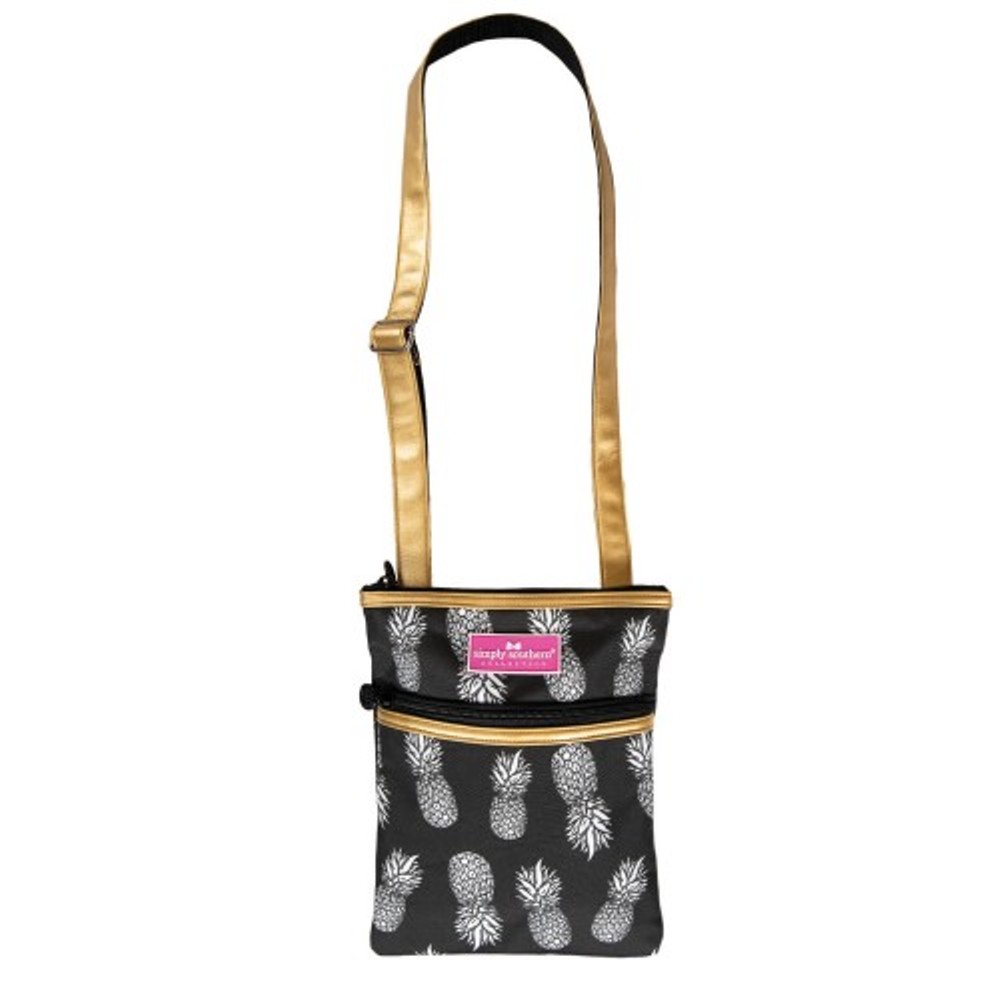 Simply Southern Crossbody Bag - Black and Gold Pineapple