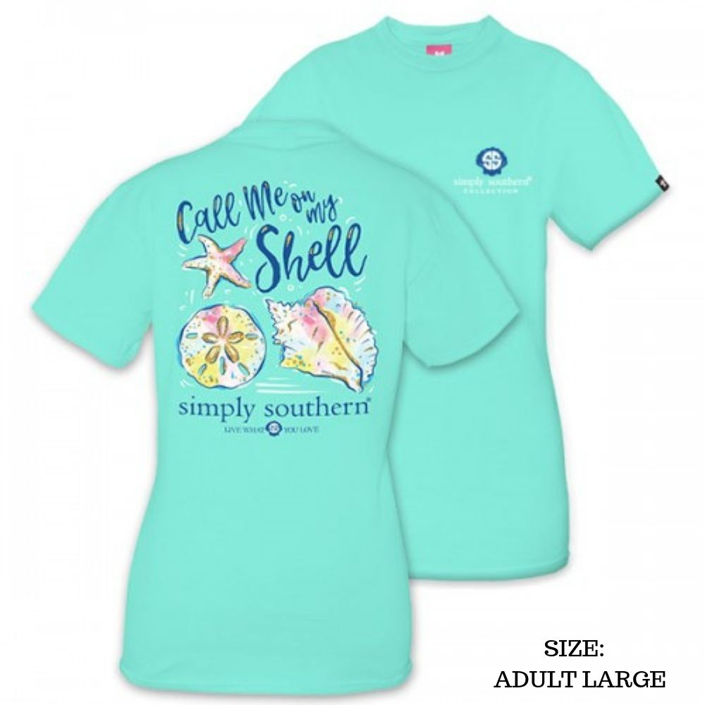 Simply Southern Shirt - Call Me On My Shell - Aqua - Large