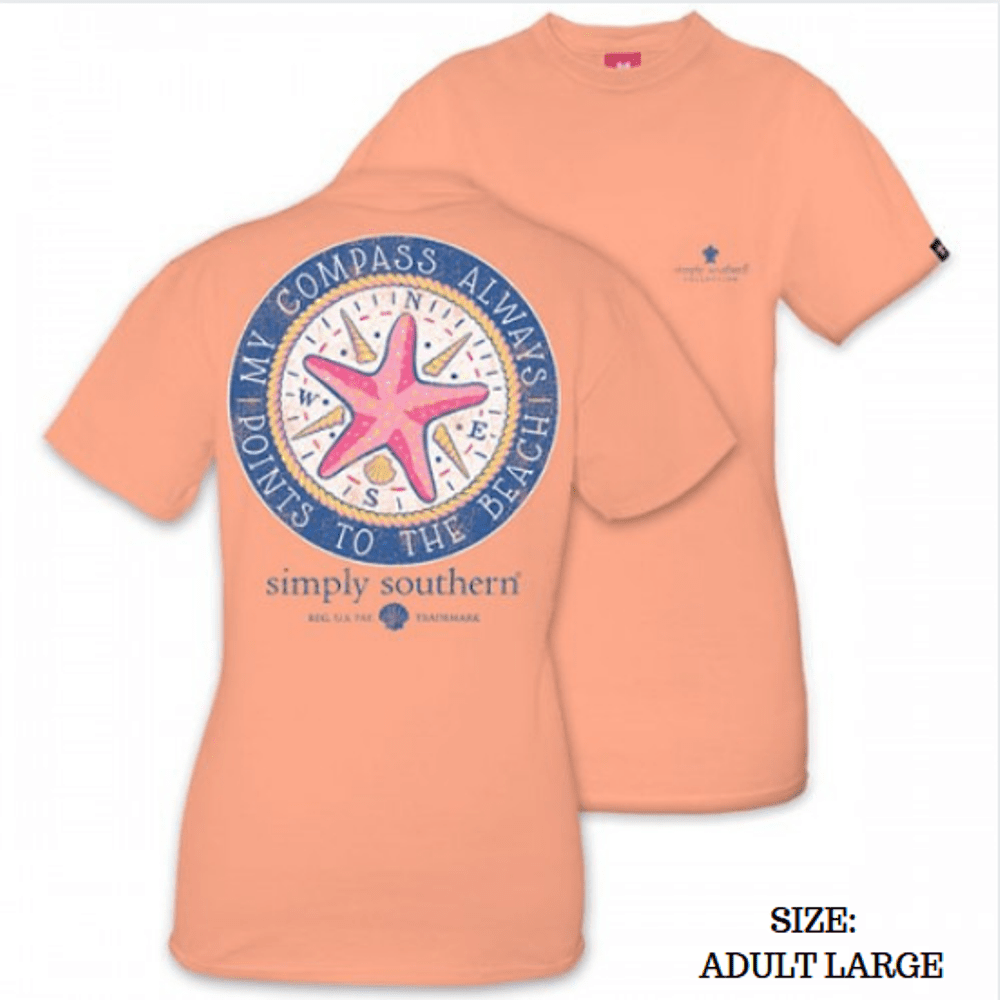 Simply Southern Shirt - Compass - Peachy - Large