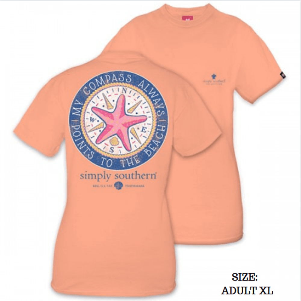 Simply Southern Shirt - Compass - Peachy - XL