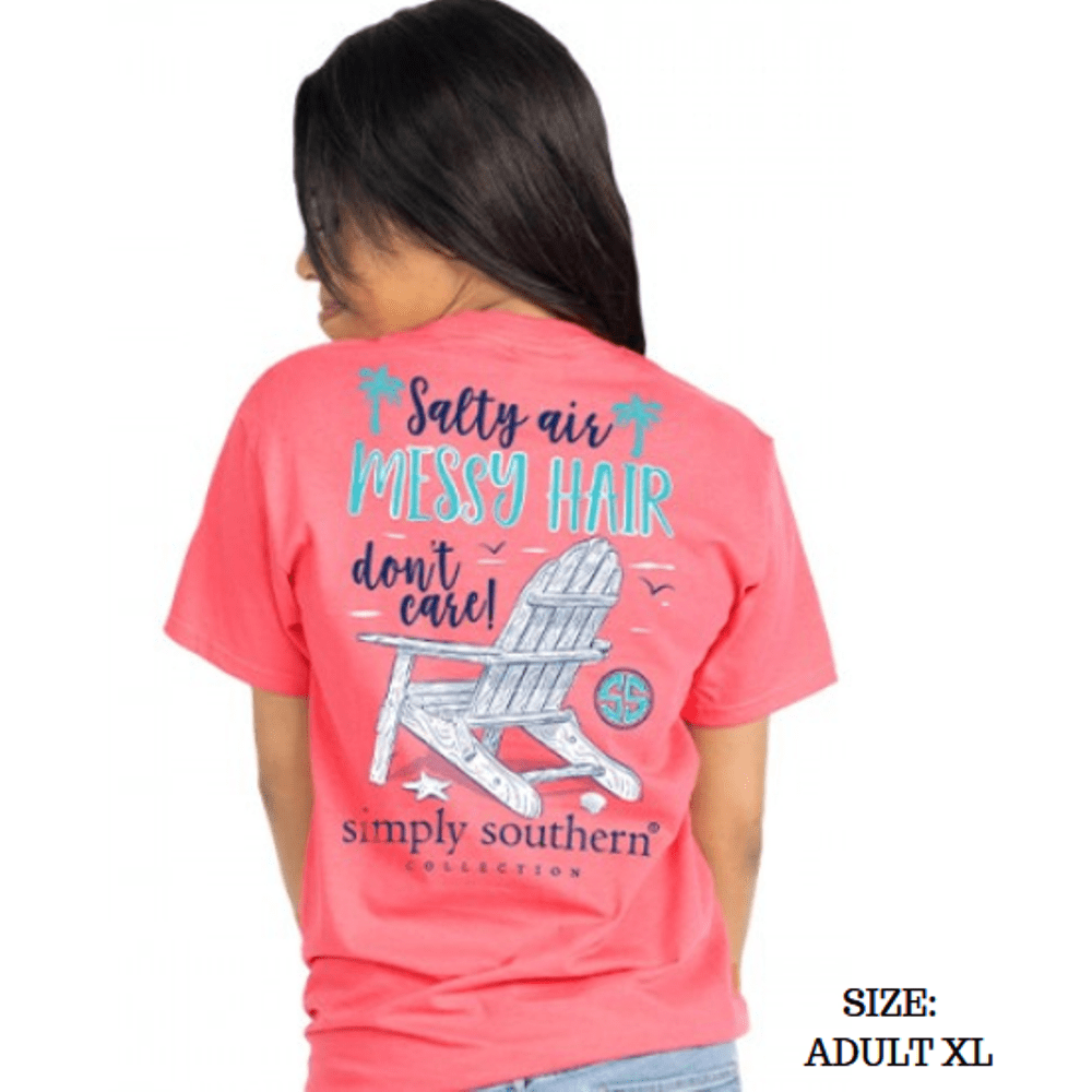 Simply Southern Shirt - Messy Hair - Begonia Pink - XL