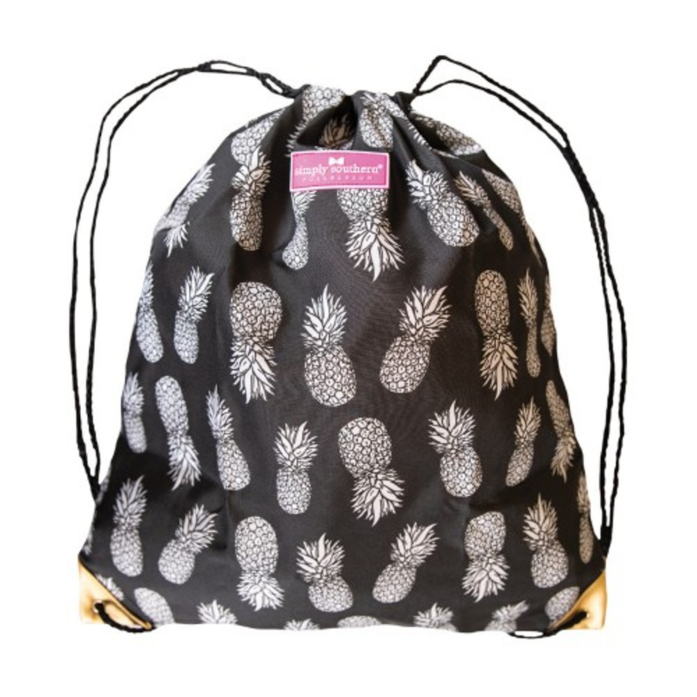 Simply Southern String Backpack - Black and Gold Pineapple