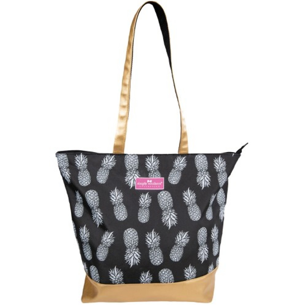 Simply Southern Tote Bag - Black and Gold Pineapple