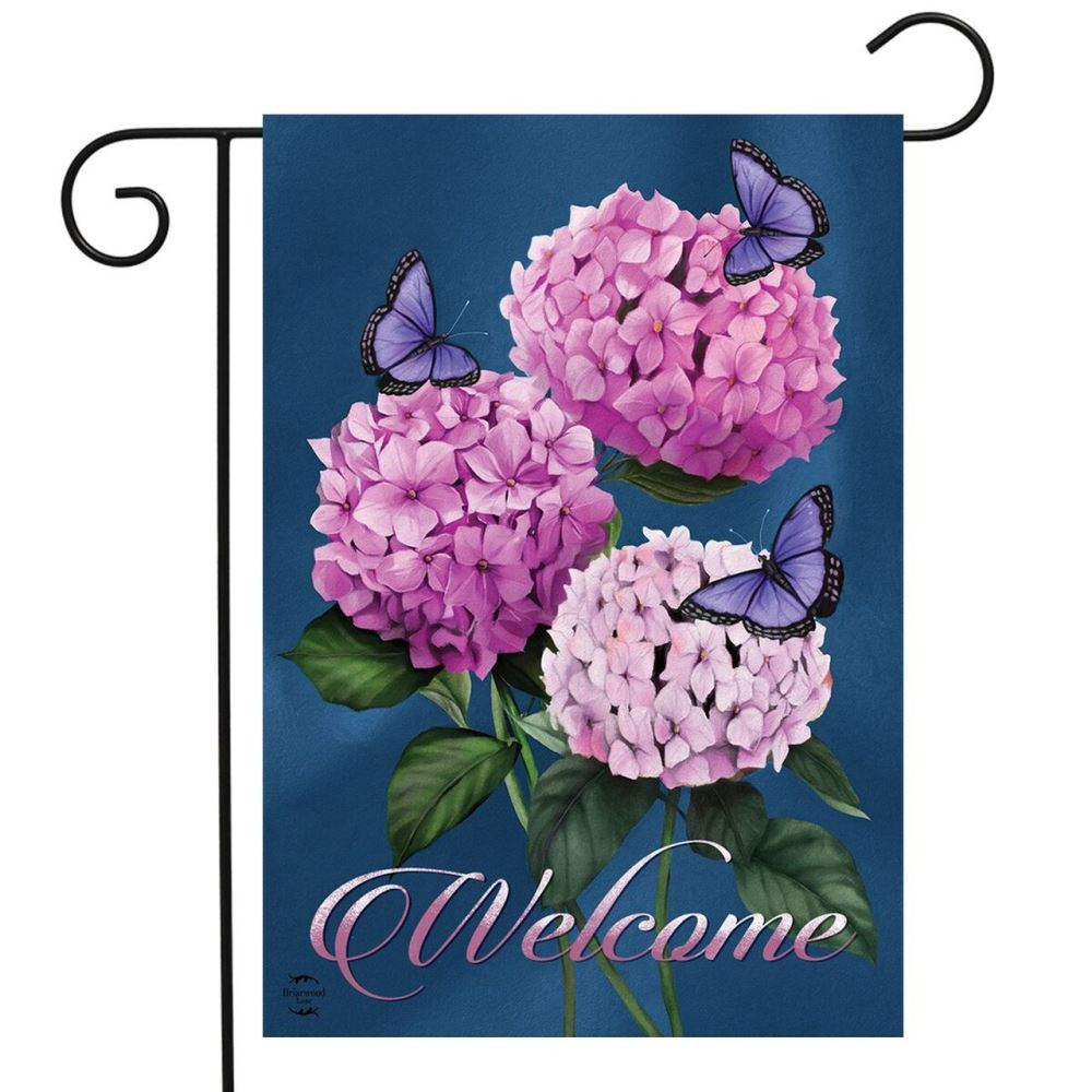 Small Garden Flag - Butterflies and Hydrangeas - 12.5in x 18in