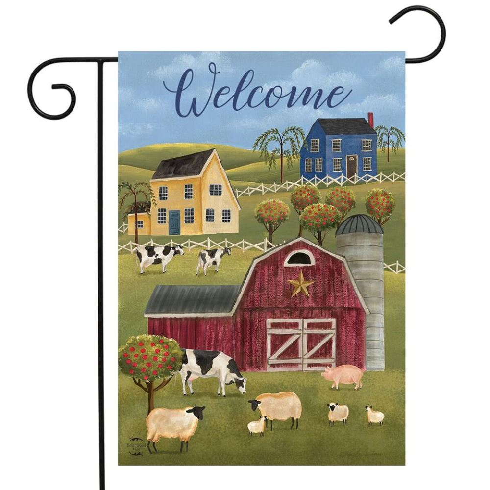 Small Garden Flag - Spring Countryside Welcome - 12.5in x 18in