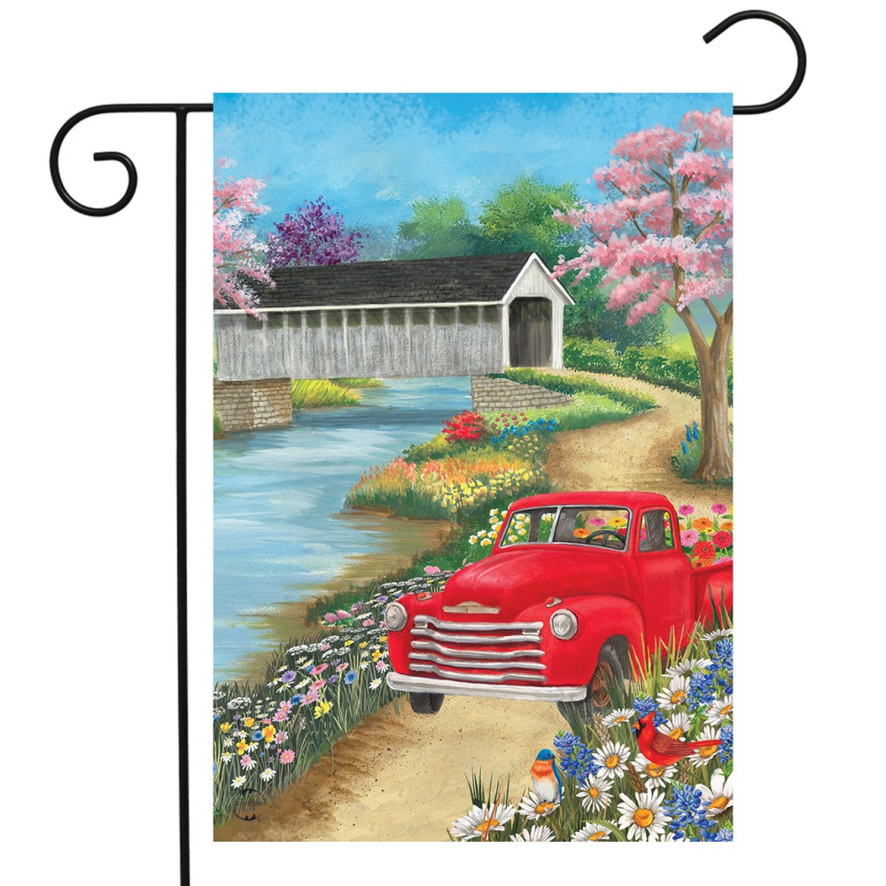 Small Garden Flag - Spring Covered Bridge - 12.5in x 18in