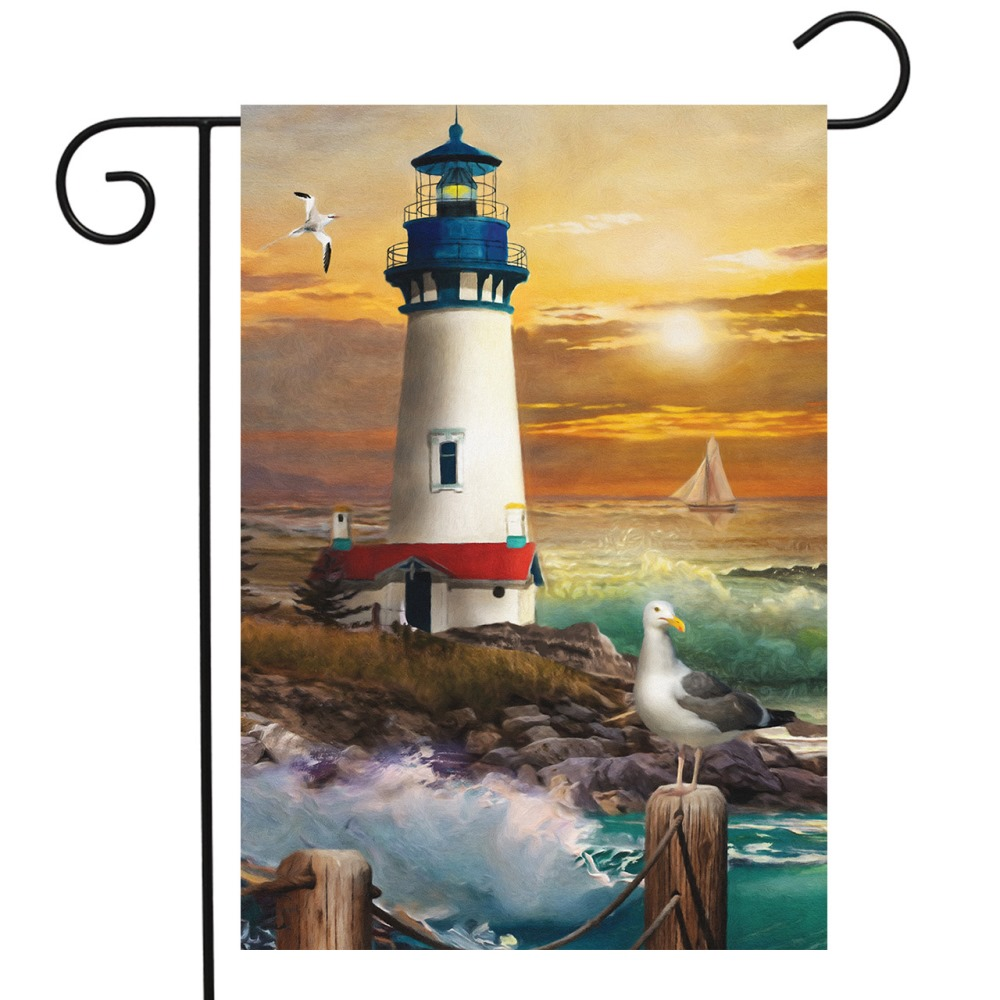 Small Garden Flag - Sunset Lighthouse - 12.5in x 18in