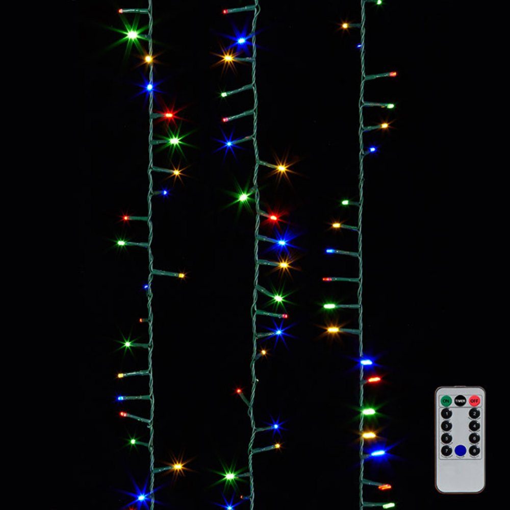 Snake Garland Lights - 1000 Multicolor LED Lights - Green Wire - 73ft