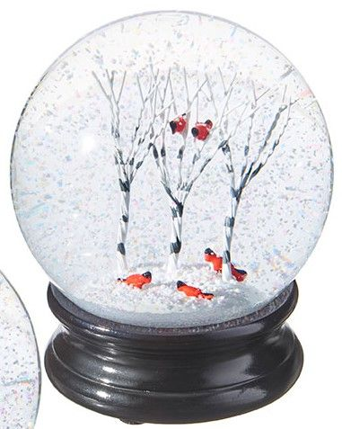 Snowglobe - Cardinals in Birch Trees - 4.5in