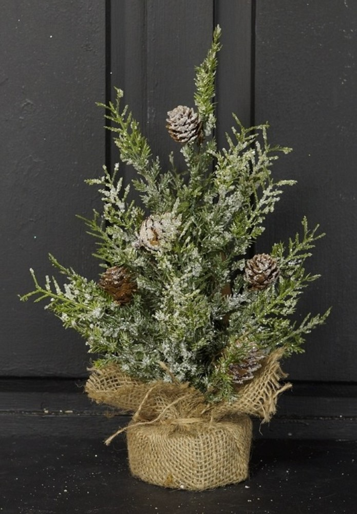 Snowy Herb Pine Twig Tree - Table Top Christmas Tree - 12 Inch