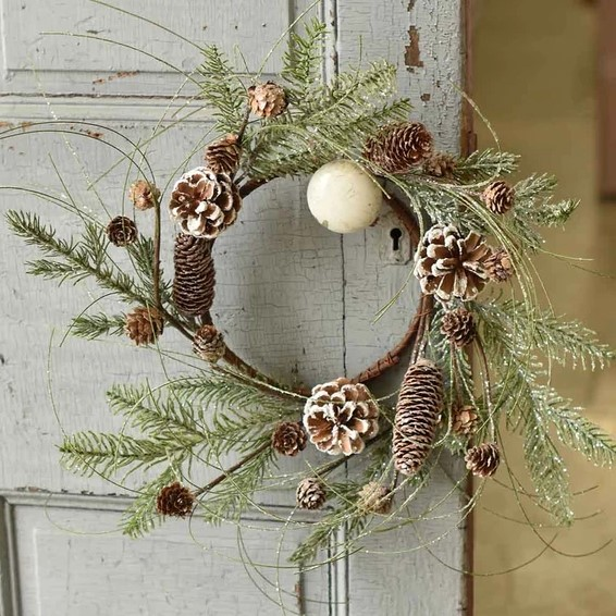 Snowy Pine Candle Ring - Snowmass Village - 6.5in