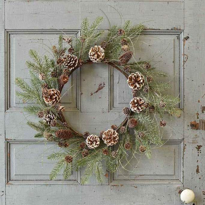 Snowy Pine Wreath - Snowmass Village - 24 Inch