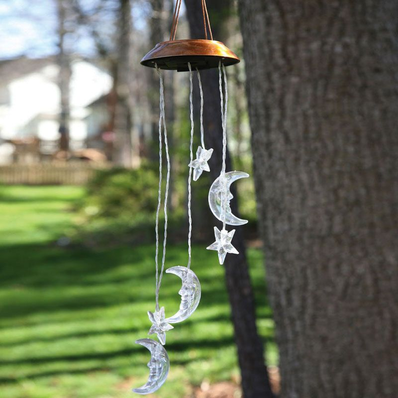 Solar Wind Chime - Celestial Moon and Stars - 26 inch