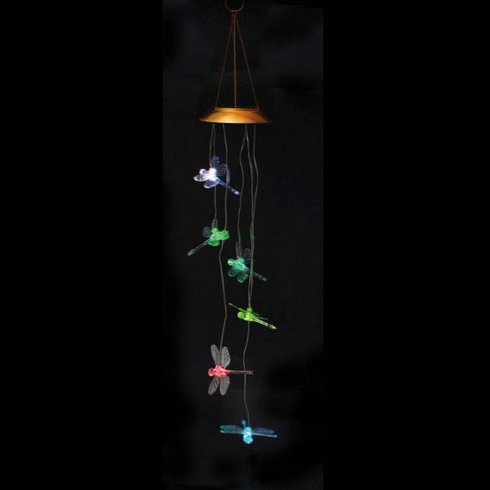 Solar Wind Chime - Color-Changing Dragonfly - 26 inch
