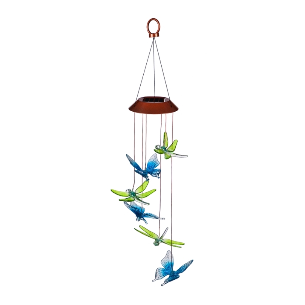 Solar Wind Chime - Color-Changing Dragonfly/Butterfly - 26 inch