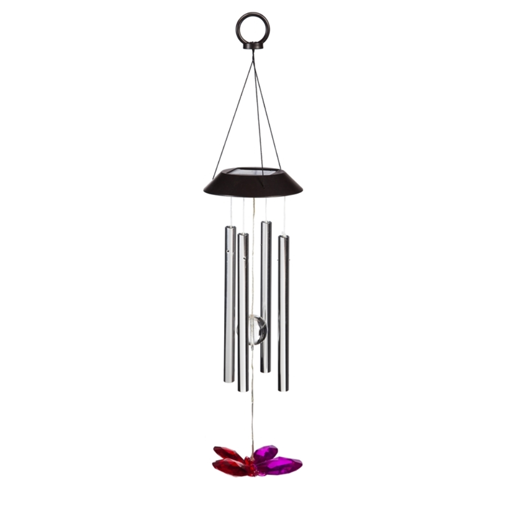 Solar Wind Chime - LED Butterfly with Chimes - 26 inch