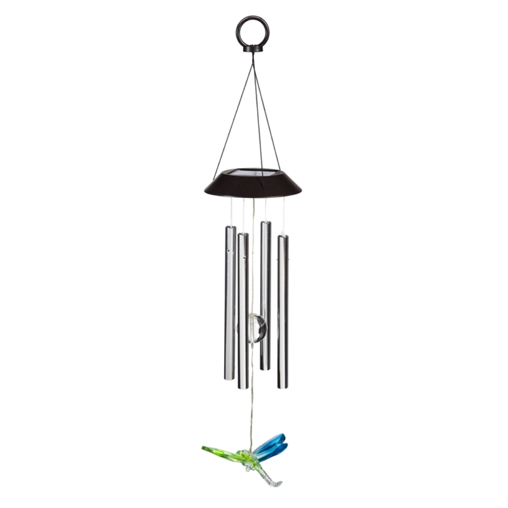 Solar Wind Chime - LED Dragonfly with Chimes - 26 inch