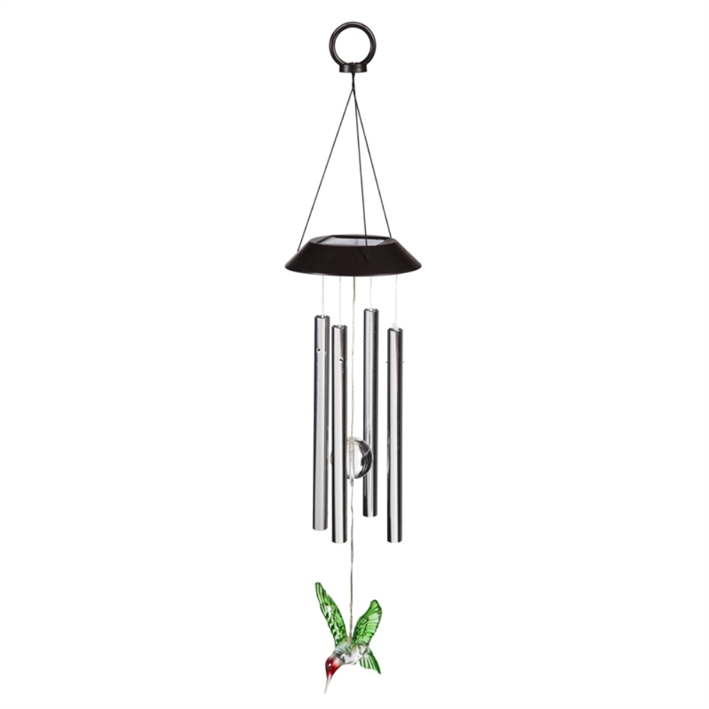 Solar Wind Chime - LED Hummingbird with Chimes - 26 inch