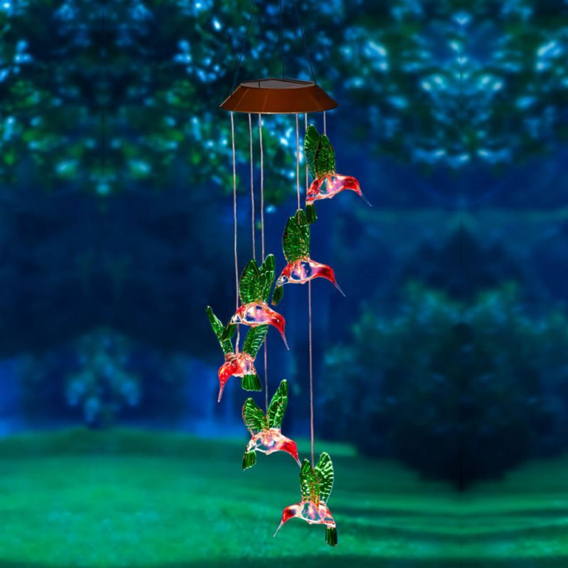 Solar Wind Chime - Painted Hummingbirds - 26.5 inch