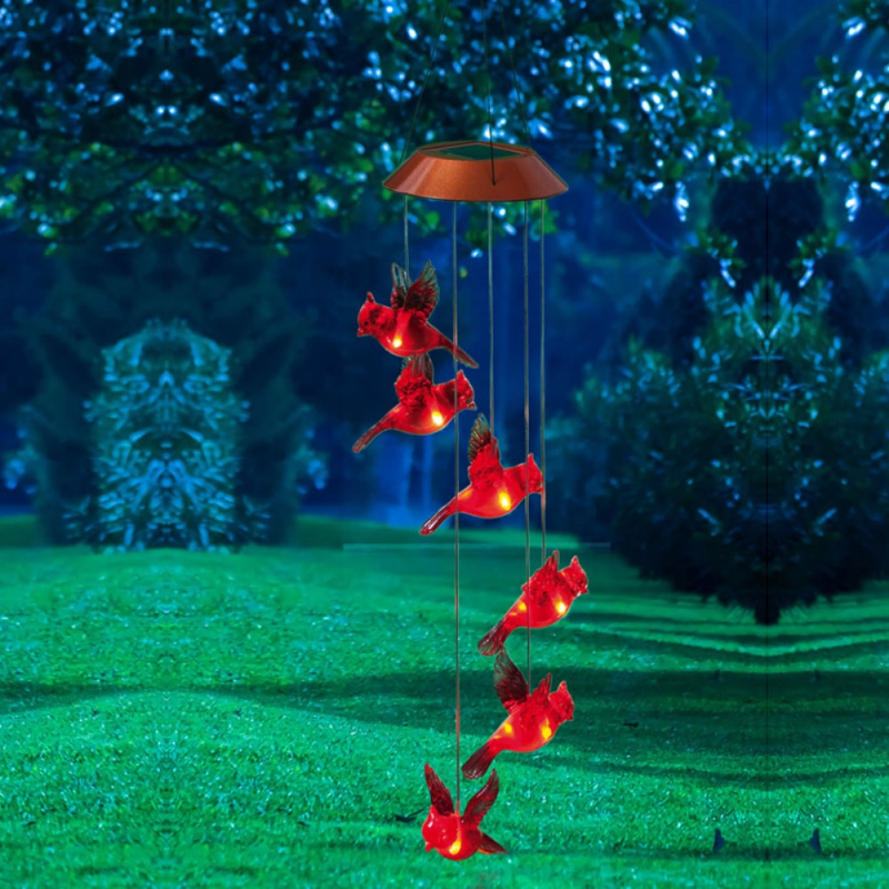 Solar Wind Chime - Red Cardinals - 26.38 inch