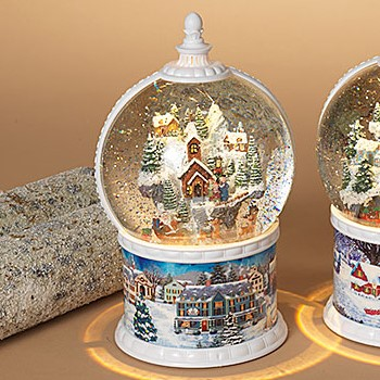 Spinning Snow Globe - Battery/Timer - White - Village with Moving Sleigh - 10.5in
