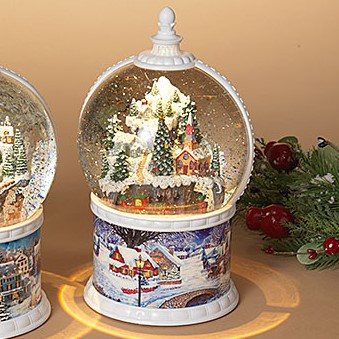 Spinning Snow Globe - Battery/Timer - White - Village with Moving Train - 10.5in