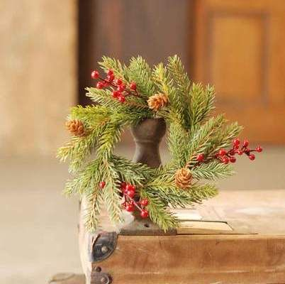 Spruce Candle Ring - White Spruce with Berries - 4 Inch