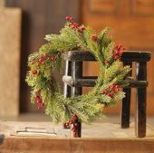 Spruce Candle Ring - White Spruce with Berries - 6 Inch