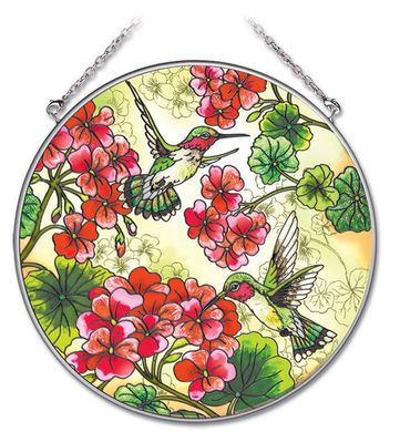 Stained Glass Suncatcher - Large Circle - Hummingbirds in the Garden - 6.5 in