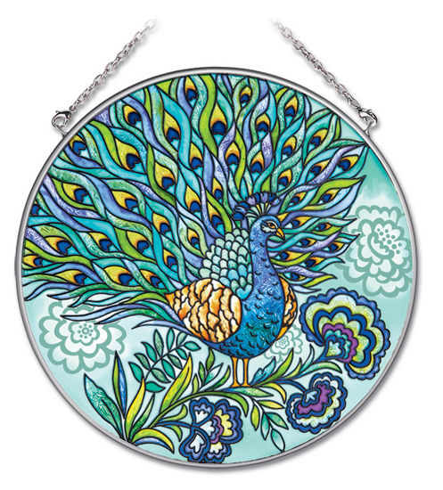Stained Glass Suncatcher - Large Circle - Peacock - 6.5 in