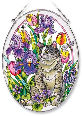 Stained Glass Suncatcher - Large Oval - Cat with Flowers - 6.5in X 9in