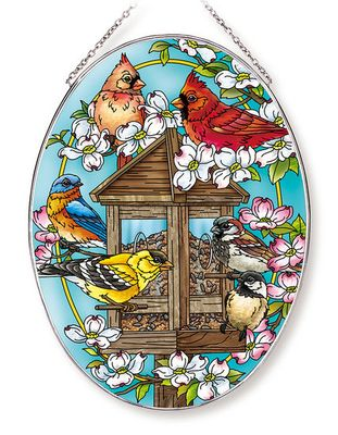 Stained Glass Suncatcher - Large Oval - Garden Birds with Feeder - 6.5in X 9in