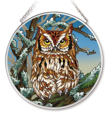 Stained Glass Suncatcher - Medium Circle - Horned Owl - 4.5 in