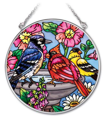 Stained Glass Suncatcher - Medium Circle - Spring Birds on a Bird Bath - 4.5 in