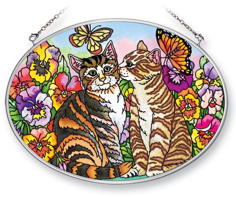 Stained Glass Suncatcher - Medium Oval - Cats in the Garden - 7in X 5.5in