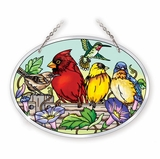 Stained Glass Suncatcher - Medium Oval - Garden Birds on Fence - 7in X 5.5in
