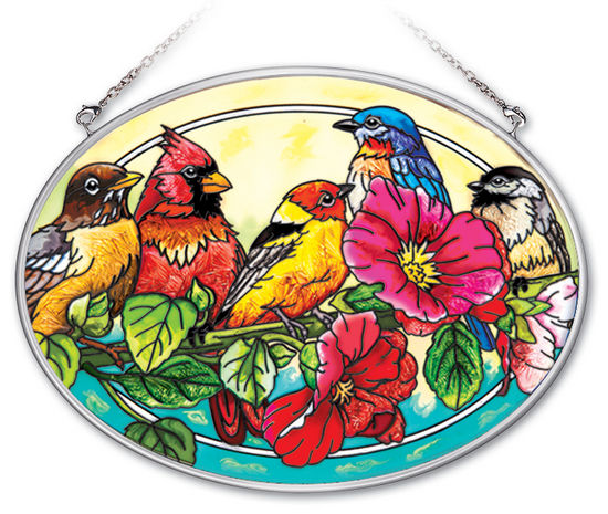 Stained Glass Suncatcher - Medium Oval - Song Birds on Branch - 7in X 5.5in
