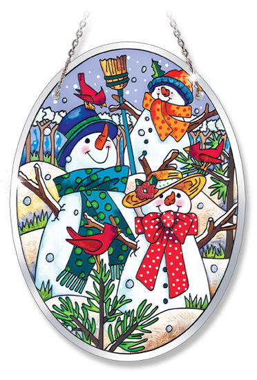 Stained Glass Suncatcher - Medium Oval - Winter Snowmen - 5.5in X 7in