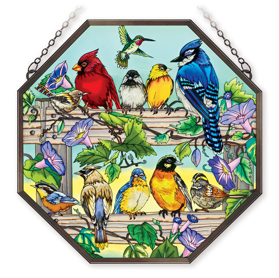 Stained Glass Suncatcher - Octagon Panel - Garden Birds on Fence - 15in X 15in