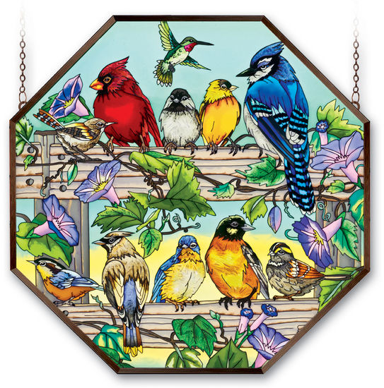 Stained Glass Suncatcher - Octagon Panel - Garden Birds on Fence - 22in X 22in