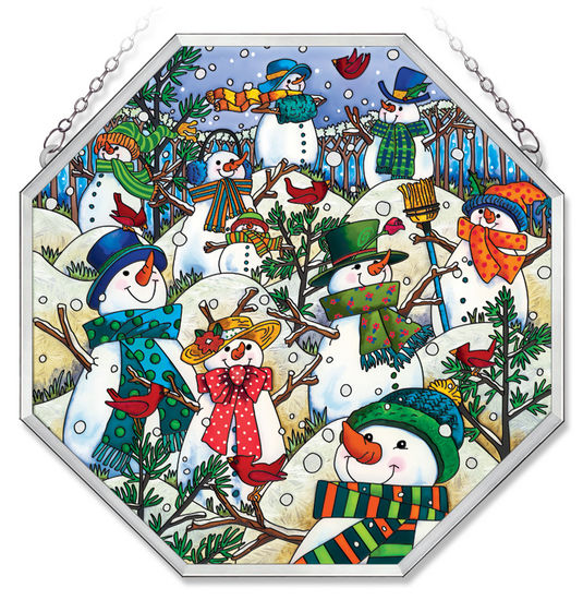 Stained Glass Suncatcher - Octagon Panel - Winter Snowmen - 15in X 15in
