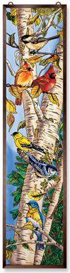 Stained Glass Suncatcher - Panel - Song Birds in Tree - 9in X 40in