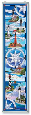 Stained Glass Suncatcher - Panel - South Coast Lighthouses - 9in X 40in