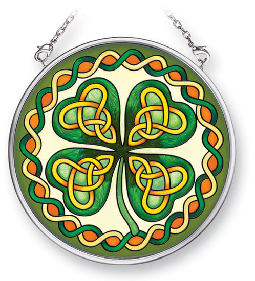 Stained Glass Suncatcher - Small Circle - Celtic Leaf - 3.5 in