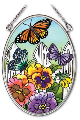 Stained Glass Suncatcher - Small Oval - Butterflies with Fence - 4.25in X 3.25in
